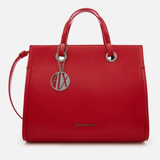 At Mybag Armani Exchange Women S Structured Patent Tote Bag Red