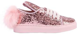 Bunny Glittered Leather Sneakers