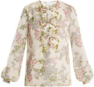 Giambattista Valli Ivy-print floral-embroidered silk-georgette blouse