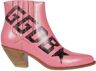 Golden Goose Logo Print Ankle Boots