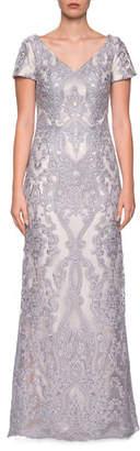 La Femme V-Neck Short-Sleeve Embroidered Column Gown