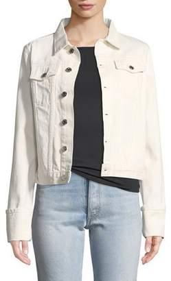 Helmut Lang Calf-Leather Denim-Detail Jacket