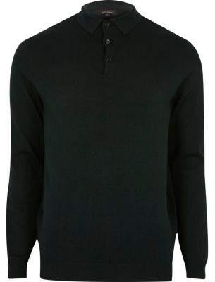 River Island Dark green long sleeve polo shirt