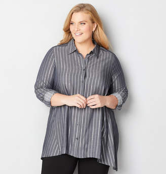 Avenue Silver Stripe Button Front Shirt
