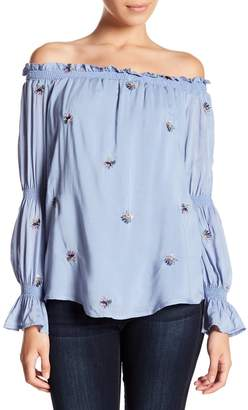 WAYF RiminI Off-the-Shoulder Smoked Print Blouse