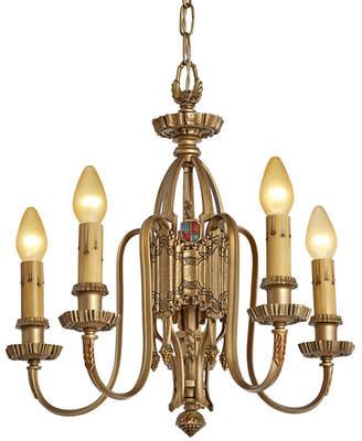 Rejuvenation Romantic Cast Brass 5-Light Chandelier w/ Heraldic Motifs