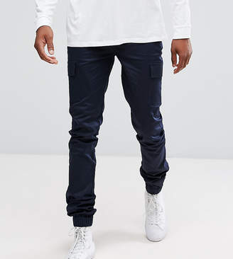 Asos Tall Skinny Woven Cargo Pants In Navy