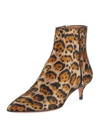 Aquazzura Quant Jacquard Leopard Booties
