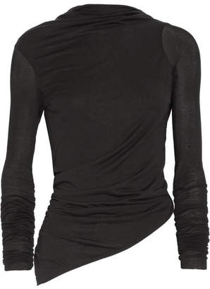 Rick Owens - Asymmetric Open-back Stretch-jersey Top - Black $445 thestylecure.com