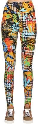 Burberry Graffiti Check Printed Lycra Leggings