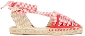 Castaner Jean Gingham Lace Canvas Espadrilles - Womens - Red