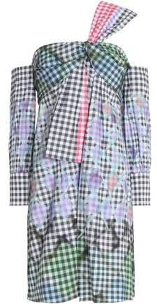 One-Shoulder Printed Gingham Cotton Mini Dress