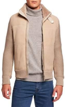 Stefano Ricci Men's Shearling-Lined Leather & Wool Blouson Jacket