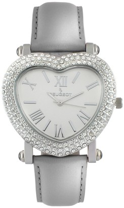 Peugeot Women's Stainless Heart-Shaped CrystalLeather Watch
