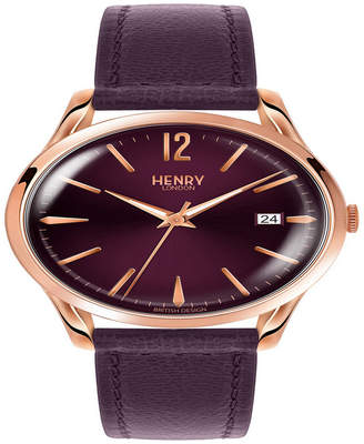 Henry London Hampstead Ladies 39mm Purple Leather Strap Watch with Rose Gold Stainless Steel Casing