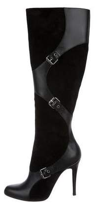 Christian Louboutin Suede Buckle Knee-High Boots