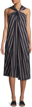 Vince Textured Stripe Twist-Front Halter Dress
