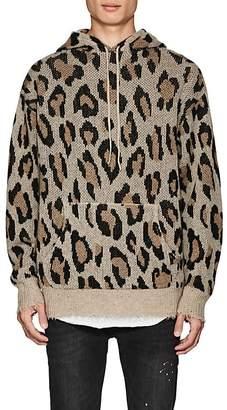 R 13 Men's Leopard-Pattern Cashmere Hoodie