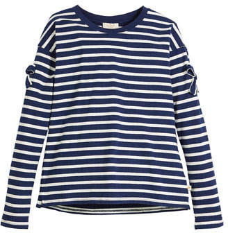 Kate Spade Striped Long-Sleeve Tee W/ Bow Trim, Size 7-14