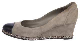 Chanel Suede Wedge Pumps Grey Suede Wedge Pumps
