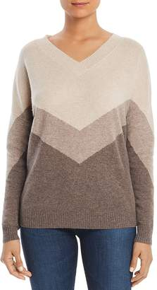 Bloomingdale's C by Color-Block V-Neck Cashmere Sweater - 100% Exclusive
