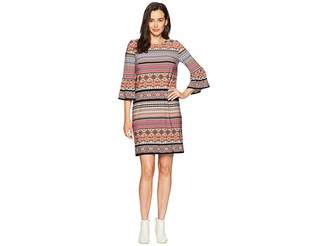 London Times Tile Stripe Matte Jersey Sleeve Dress