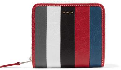 Balenciaga Balenciaga - Bazar Striped Textured-leather Wallet - Gray