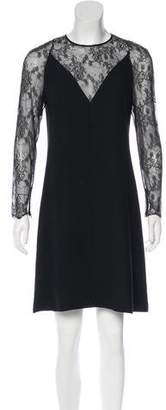 Valentino Silk Lace-Paneled Dress