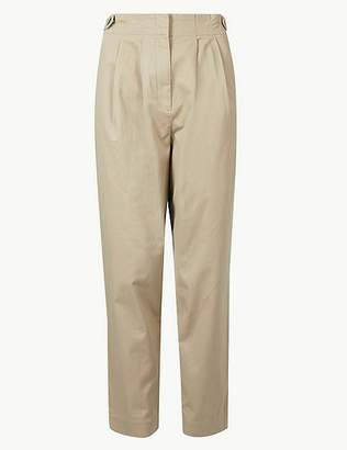 Marks and Spencer Cotton Rich Ankle Grazer Peg Trousers