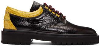 Linder Black and Gold Croc Voleur Derbys
