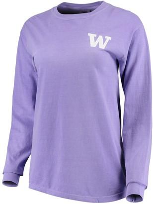 Unbranded Women's Purple Washington Huskies Comfort Colors Campus Skyline Long Sleeve Oversized T-Shirt
