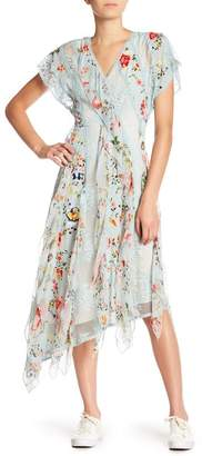 Alice + Olivia Silk Asymmetrical Hem Floral Printed Dress