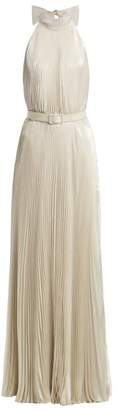 Luisa Beccaria Pleated Halterneck Gown - Womens - Silver