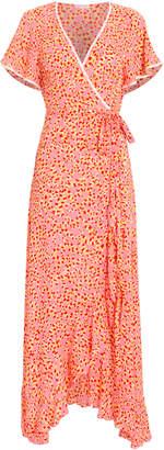 Poupette St Barth Joe Ruffled Wrap Short Sleeve Dress