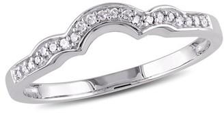 Miabella Diamond-Accent 10kt White Gold Contour Wedding Band