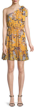 Shoshanna Carmela Floral Silk One-Shoulder Dress