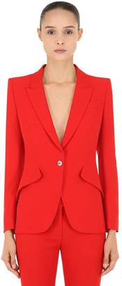 Alexander McQueen One Button Leaf Crepe Jacket