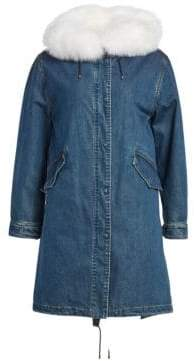 Julia & Stella Fur Trim Denim Coat