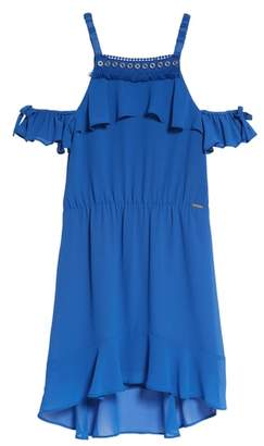 Marciano Ruffle Cold Shoulder Dress