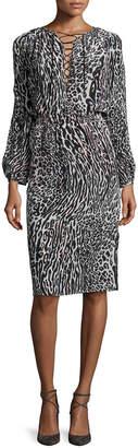 Altuzarra Long-Sleeve Leopard-Print Silk Dress