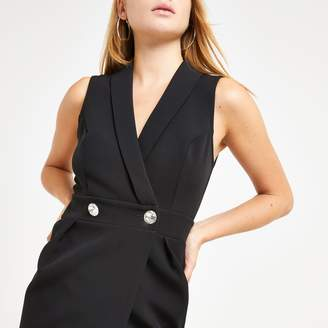 River Island Womens Black embellished tux boydcon midi dress
