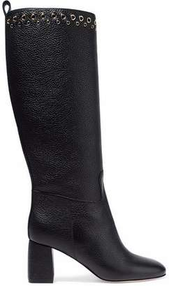 RED Valentino Eyelet-Embellished Textured-Leather Boots