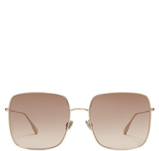 Christian Dior Stellaire1 Square Metal Sunglasses - Womens - Brown
