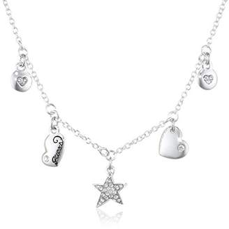 GUESS UBN81055 Silver-Plated Metal Cubic Zirconia Necklace with Pendant