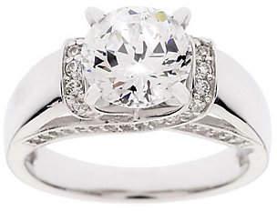 Diamonique 100-Facet 2.35 cttw Gallery Ring,Platinum Clad