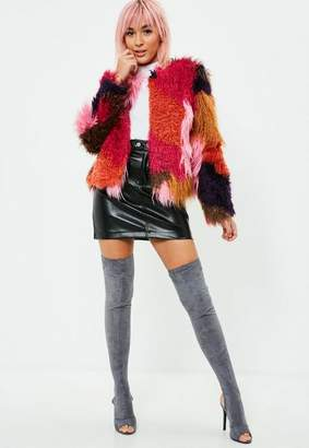Missguided Red PatchWork Faux Fur Coat