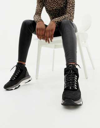 Bronx black leather chunky sneaker boot