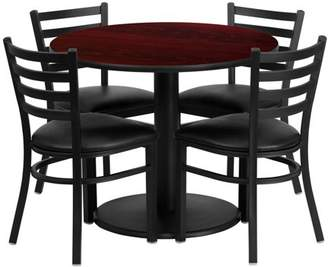 Flash Furniture 36'' Round Mahogany Laminate Table Set with 4 Ladder Back Metal Chairs, Black Vinyl Seat