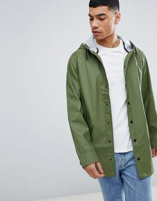 Asos Shower Resistant Rain Coat In Khaki