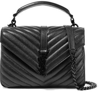 Saint Laurent - College Medium Quilted Leather Shoulder Bag - Black $2,450 thestylecure.com